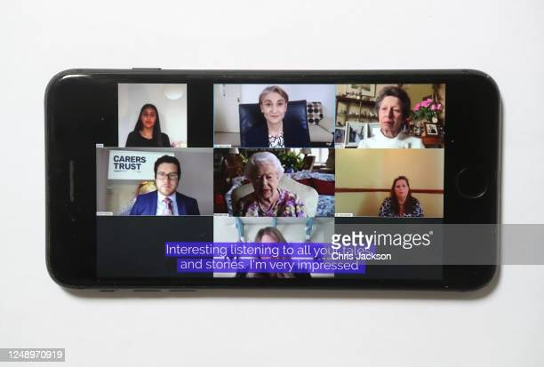 In this photo illustration, Princess Anne, Princess Royal and Queen Elizabeth II speak to carers via video call to mark Carers Week 2020 on June 11,...