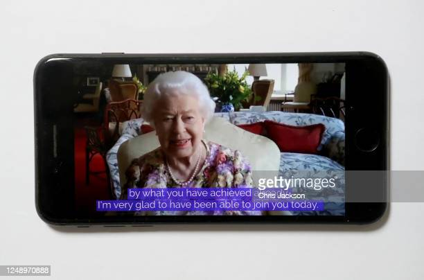 In this photo illustration Queen Elizabeth II speaks to carers via video call to mark Carers Week 2020 on June 11, 2020 in London, England. Princess...