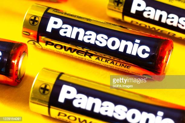 In this photo illustration several alkaline batteries from Panasonic. It is a Japanese electronics manufacturer.