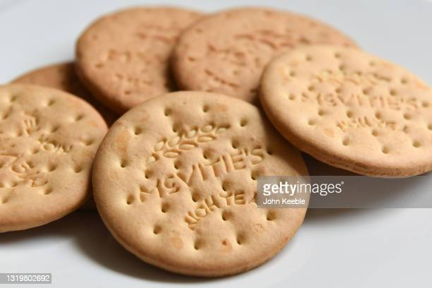 In this photo illustration, Shows a plate of McVitie's Rich Tea and digestive biscuits on May 24, 2021 in Unspecified, United Kingdom. McVitie's'...