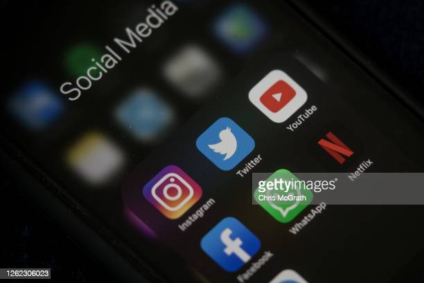 In this photo illustration, social media apps are seen on a mobile phone on July 29, 2020 in Istanbul, Turkey. Turkey's parliament passed a new law...