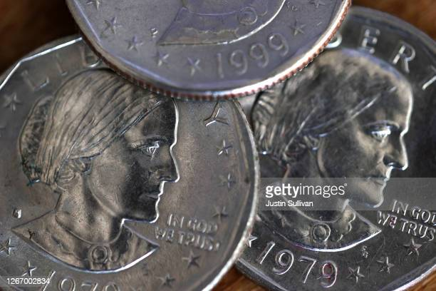 In this photo illustration, Susan B. Anthony one dollar coins are displayed on August 18, 2020 in San Anselmo, California. On the 100th anniversary...