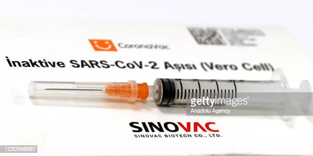 In this photo illustration taken in Ankara, Turkey on January 13 a syringe is seen and Sinovac Biotech COVID-19 vaccine logo is seen behind.