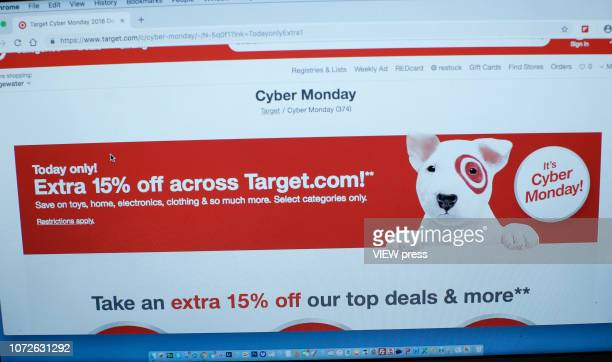 In this photo illustration, Target advertises Cyber Monday sales on its company websites on November 26, 2018 in Guttenberg, New Jersey. Americans...