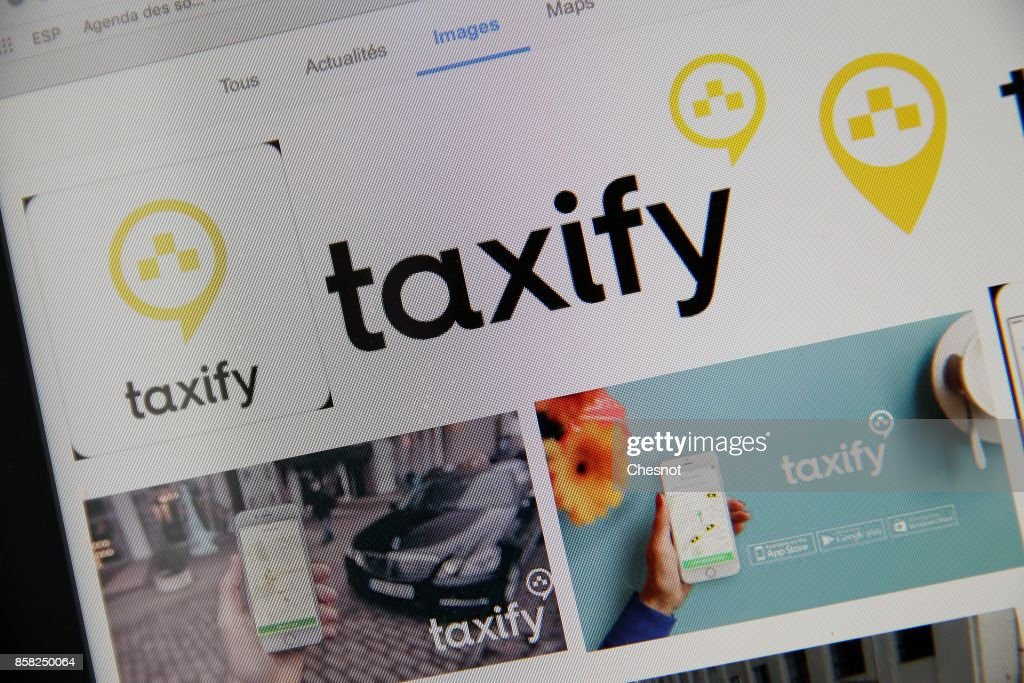 In this photo illustration, Taxify company logos are displayed on a laptop screen on October 06, 2017 in Paris France. The new car-hailing service Taxify is preparing to take on Uber in Paris, after being boosted by investment from China's Didi Chuxing. Taxify, the Estonian application of connecting customers and private drivers hopes to become a key player in the sector in France. The company plans to charge similar amounts to Uber but will allow drivers to keep a greater share of fares.