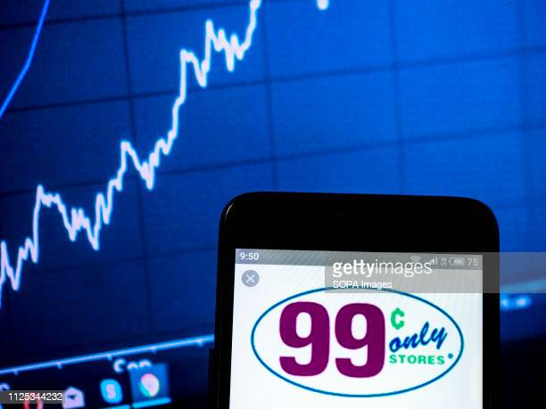 In this photo illustration the 99 Cents Only Stores company logo seen displayed on a smartphone