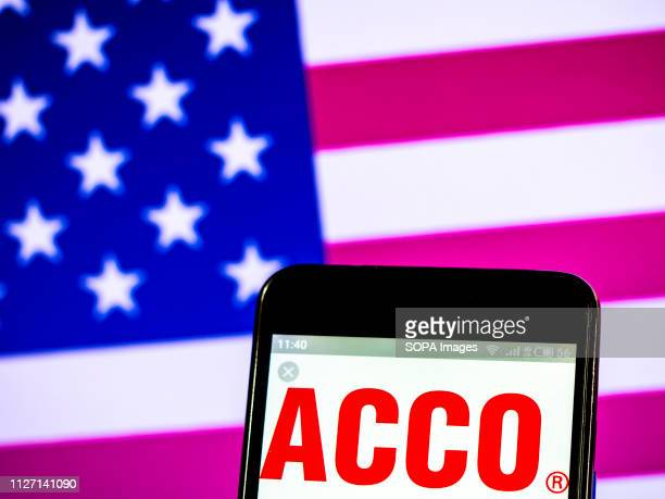 In this photo illustration the ACCO Brands company logo seen displayed on a smartphone