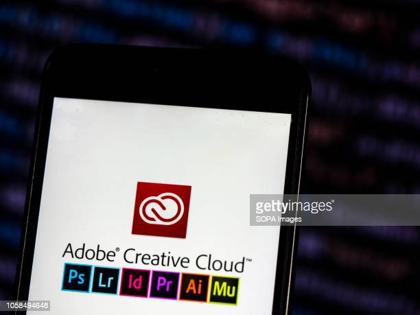 In this photo illustration the Adobe Creative Cloud logo seen displayed on a smartphone Adobe Creative Cloud is a set of applications and services...