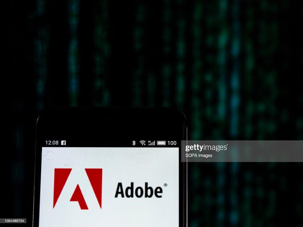 Adobe Inc. logo seen displayed on smart phone. Adobe Inc. : News Photo
