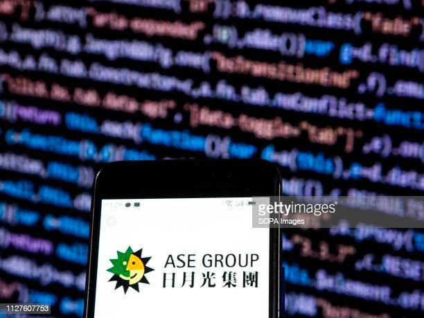 In this photo illustration the Advanced Semiconductor Engineering Inc also known as ASE Group logo seen displayed on a smartphone