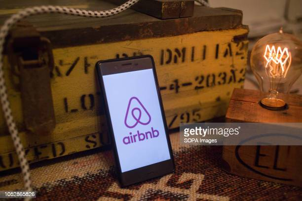 In this photo illustration the Airbnb application seen displayed on a Sony smartphone