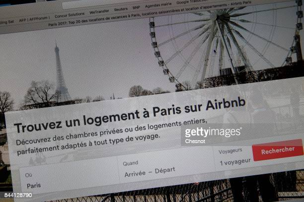 In this photo illustration the Airbnb homepage is displayed on a laptop screen in this photo arranged on September 8 2017 in Paris France The City of...