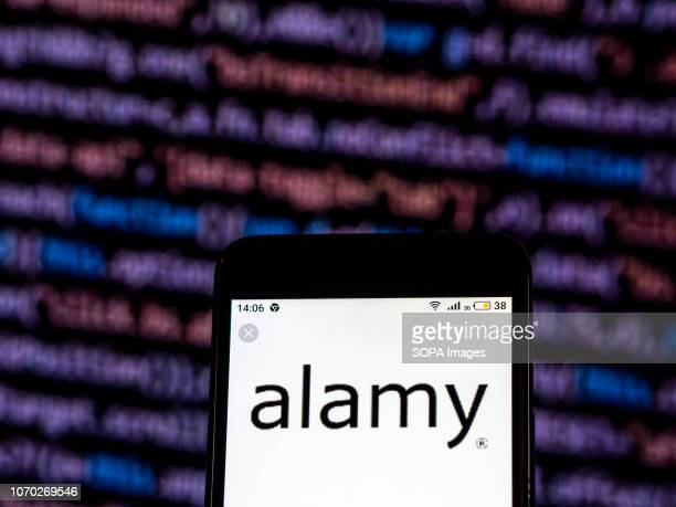 Alamy Stock photography company logo seen displayed on smart phone