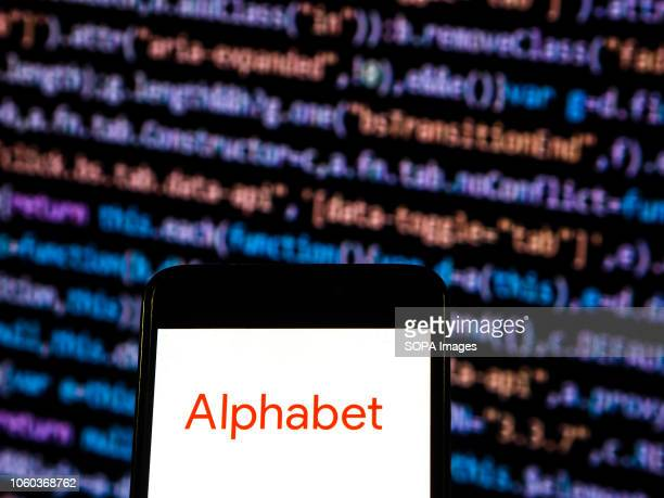 Alphabet logo seen displayed on a smart phone