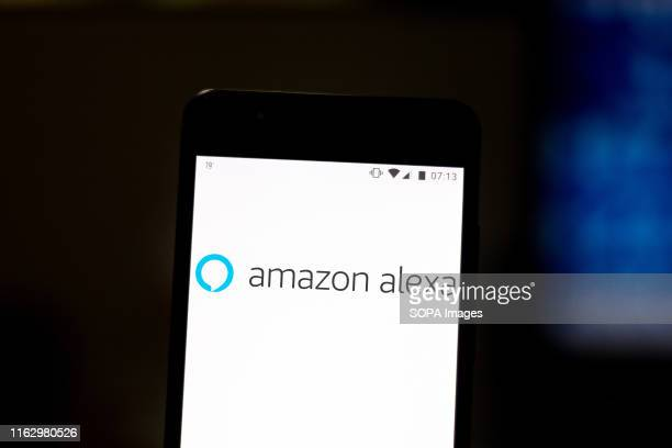 In this photo illustration the Amazon Alexa logo is displayed on a smartphone