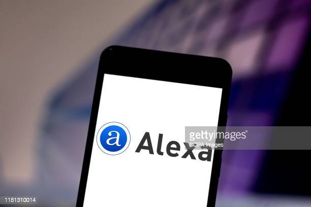In this photo illustration the Amazon Alexa logo is seen displayed on a smartphone