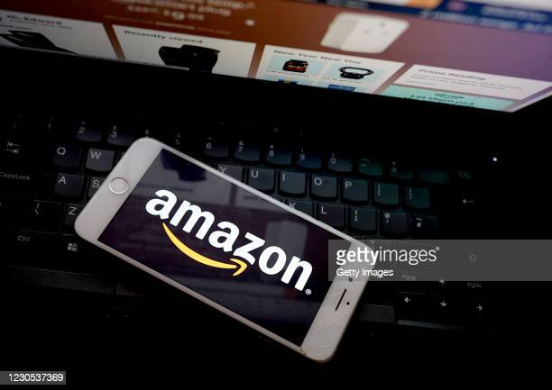 In this photo illustration, the Amazon app is seen on a mobile phone on January 11, 2021 in London, United Kingdom.