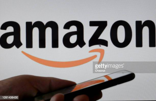 PARIS FRANCE JANUARY 08 In this photo illustration the Amazon logo is displayed on the screen of a computer on January 08 2019 in Paris France On...
