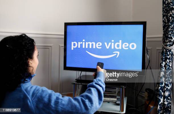 In this photo illustration, the Amazon Prime video media service provider's logo is displayed on the screen of a television on November 20, 2019 in...