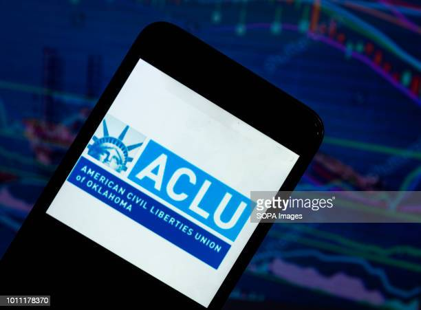 In this photo illustration the American Civil Liberties Union logo seen displayed on a smartphone The American Civil Liberties Union is a nonprofit...