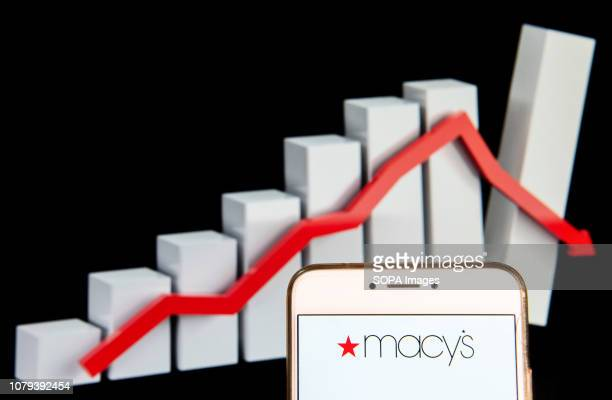 In this photo illustration the American department store chain Macy's logo is seen displayed on an Android mobile device with a graph showing sharp...