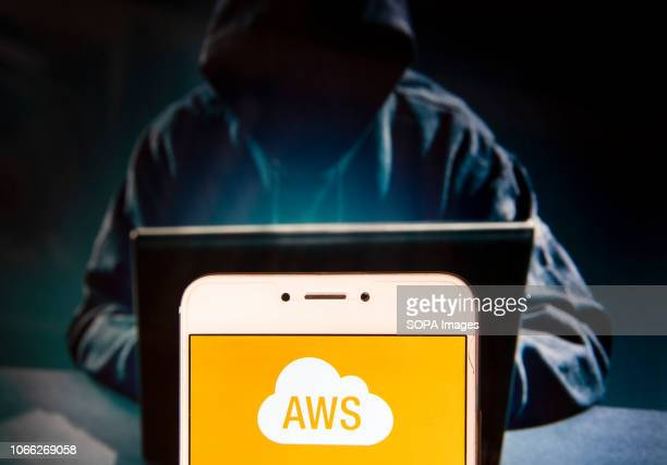 American ondemand cloud computing platform owned by AmazonAmazon Web Services logo is seen on an Android mobile device with a figure of hacker in the...