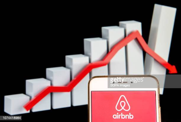 American online marketplace and hospitality service Airbnb logo is seen on an Android mobile device with a decline loses graph in the background