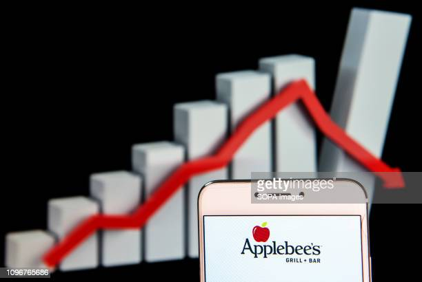 In this photo illustration the American sandwich restaurant chain Applebee's logo is seen displayed on an Android mobile device with a loss graph in...