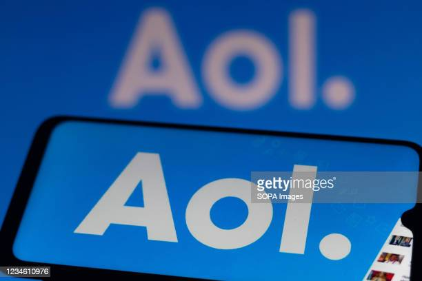 In this photo illustration, the AOL logo seen displayed on a smartphone.