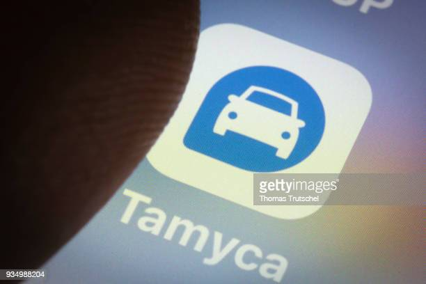 In this photo illustration the app of car sharing company Tamyca is displayed on a smartphone on March 20 2018 in Berlin Germany