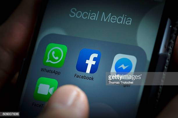 In this photo illustration the app of Facebook is displayed on a smartphone on February 08 2016 in Berlin Germany