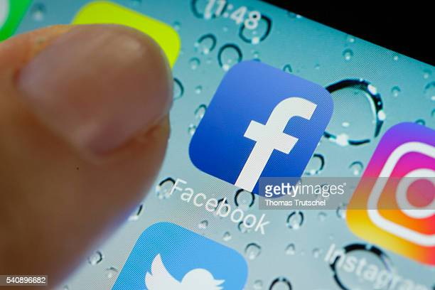 In this photo illustration the app of facebook is displayed on a smartphone on June 17 2016 in Berlin Germany