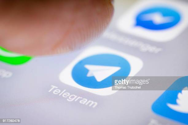 In this photo illustration the app of Telegram is displayed on a smartphone on February 12 2018 in Berlin Germany