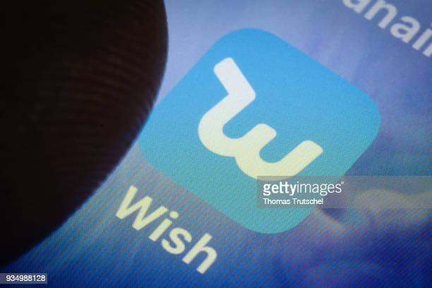 In this photo illustration the app of Wish is displayed on a smartphone on March 20 2018 in Berlin Germany