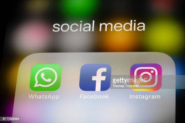 In this photo illustration the apps of social media networks WhatsApp Facebook and Instagram are displayed on a smartphone on February 12 2018 in...
