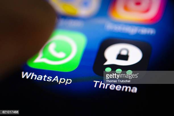 In this photo illustration the apps of WhatsApp and Threema are displayed on a smartphone on November 04 2016 in Berlin Germany