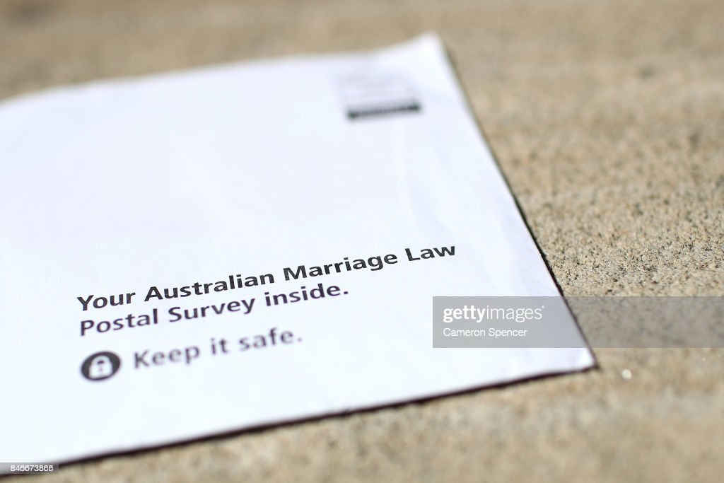 In this photo illustration the Australian Marriage Law Postal Survey is seen in an envelope on September 14, 2017 in Sydney, Australia. More than 16 million voters are eligible to vote in the Australian Marriage Law Postal Survey, which will be mailed by the Australian Bureau of Statistics to all enrolled voters by September 25. Voting closes on November 7 with the Australian Government to reveal the result on November 15.