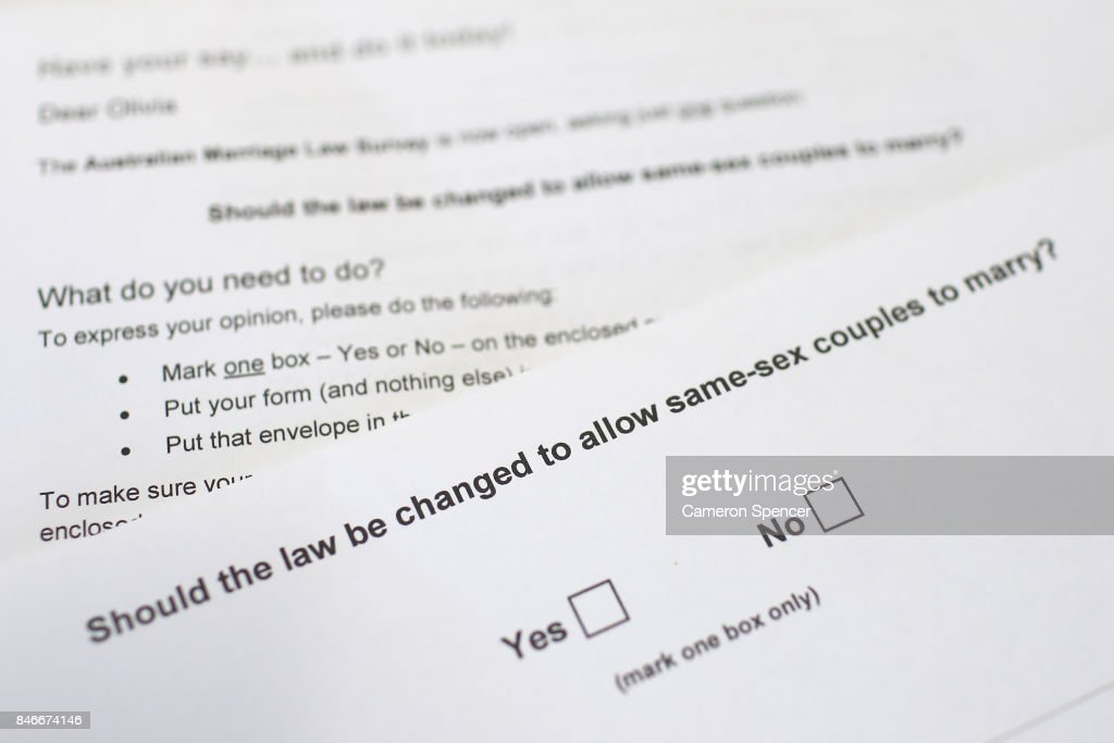 In this photo illustration the Australian Marriage Law Postal Survey is displayed on September 14, 2017 in Sydney, Australia. More than 16 million voters are eligible to vote in the Australian Marriage Law Postal Survey, which will be mailed by the Australian Bureau of Statistics to all enrolled voters by September 25. Voting closes on November 7 with the Australian Government to reveal the result on November 15.