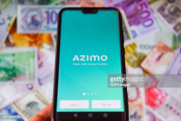 In this photo illustration the Azimo app is seen displayed on a mobile phone