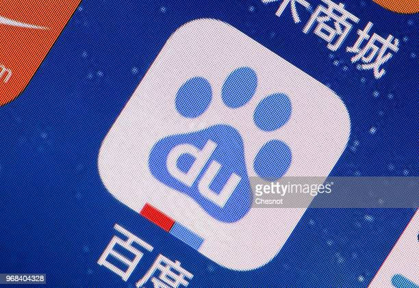 In this photo illustration, the Baidu logo application is displayed on the screen of an iPhone on June 06, 2018 in Paris, France. Baidu is the 1st...