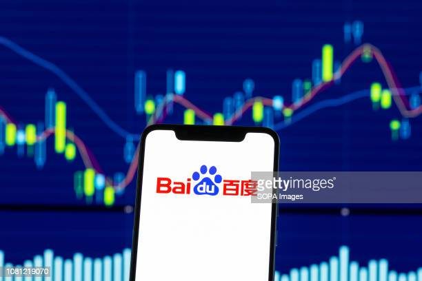 In this photo illustration, the Baidu logo is seen displayed on an Android mobile phone over stock chart.