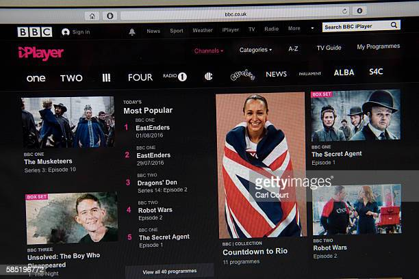In this photo illustration, the BBC iPlayer app is displayed on a laptop screen on August 2, 2016 in London, England. The BBC has announced that...