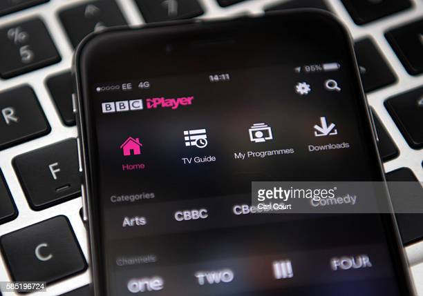 In this photo illustration, the BBC iPlayer app is displayed on an iPhone left over a laptop keyboard on August 2, 2016 in London, England. The BBC...