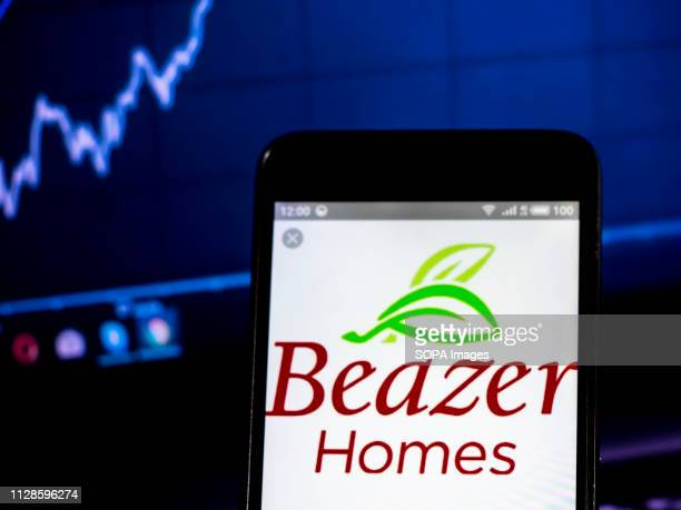 In this photo illustration the Beazer Homes USA Inc logo seen displayed on a smartphone