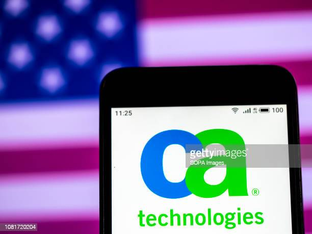 In this photo illustration the CA Technologies Computer company logo seen displayed on a smartphone