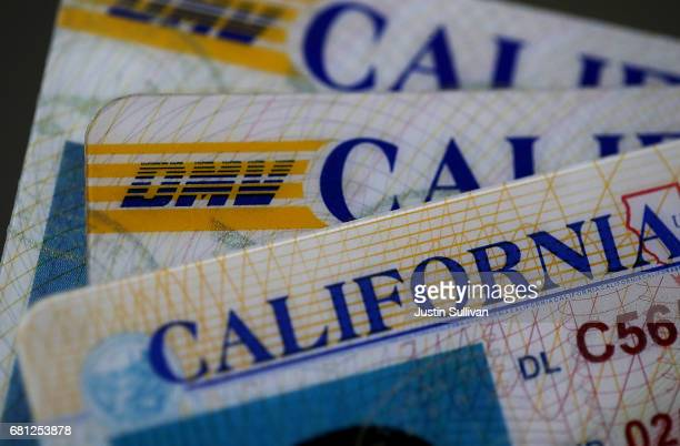 In this photo illustration the California Department of Motor Vehicles logo appears on a California driver license on May 9 2017 in San Anselmo...