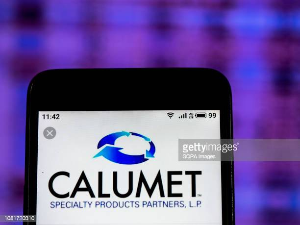 In this photo illustration the Calumet Specialty Products Partners Manufacturing company logo seen displayed on a smartphone