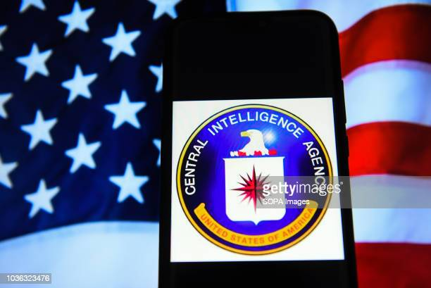 In this photo illustration, the Central Intelligence Agency logo is seen displayed on an Android mobile phone.