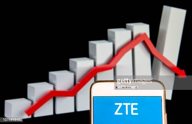 In this photo illustration the Chinese multinational telecommunications equipment and systems company ZTE logo is seen displayed on an Android mobile...