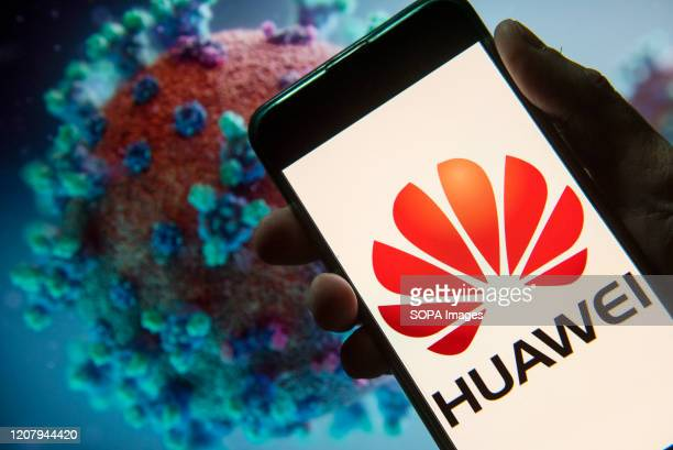 In this photo illustration the Chinese multinational telecommunications equipment and consumer electronics company Huawei logo seen displayed on a...